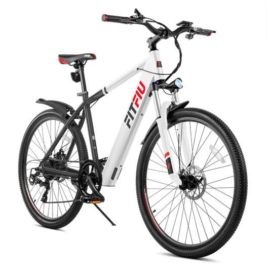 """FITFIU TREKKING Bicicleta eléctrica blanca 27,5"""" 250W bateria Samsung 36V Shimano 6V"""